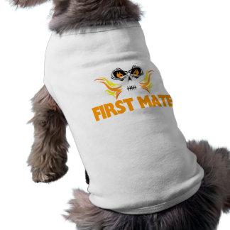 Flaming Skull First Mate Pet T Shirt