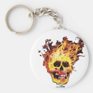 Flaming Skull Keychain
