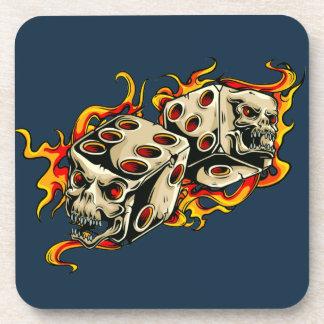 Flaming Skull Lucky Dice. Coaster