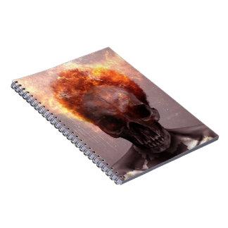 flaming skull notebook