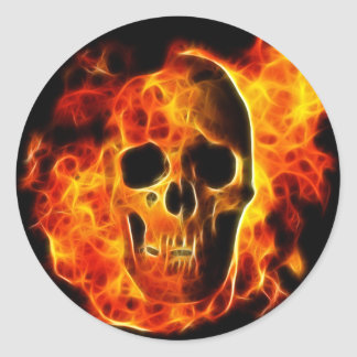 Flaming Skull Round Sticker
