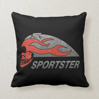Flaming Skull Tank Throw Pillow