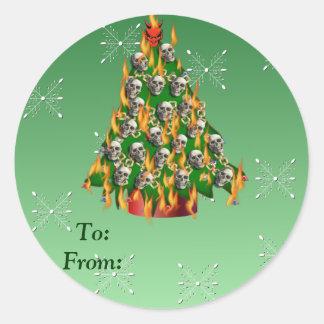 Flaming Skull Tree Classic Round Sticker