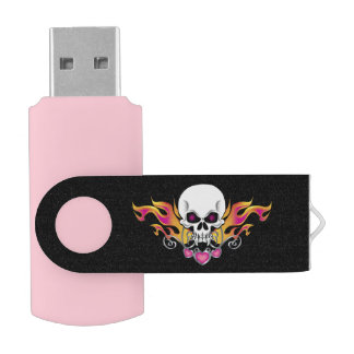 Flaming Skull with Hearts Swivel USB 3.0 Flash Drive