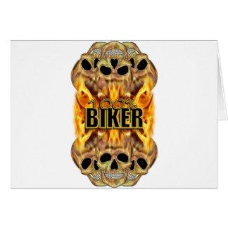 Flaming Skulls 100% Biker Card