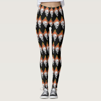 Flaming Skulls Leggings