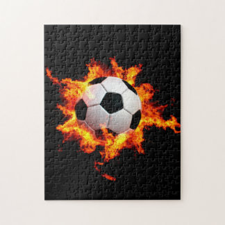 Flaming Soccer Ball Jigsaw Puzzle