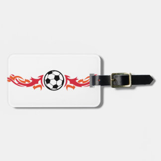 Flaming Soccer Ball Luggage Tag