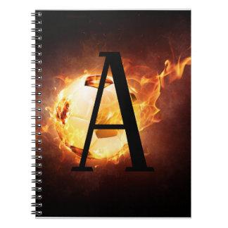 Flaming Soccer Ball Monogram Football Spiral Notebook