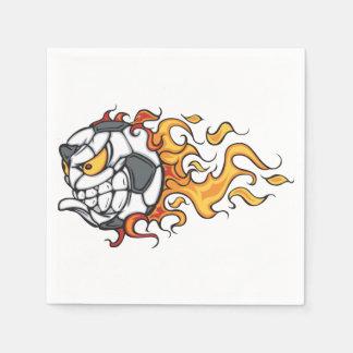 Flaming Soccer Ball Paper Napkins