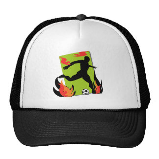 Flaming Soccer T shirts and Gifts Trucker Hat
