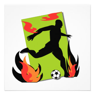 Flaming Soccer T shirts and Gifts Custom Invitations