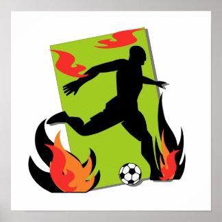 Flaming Soccer T shirts and Gifts Print