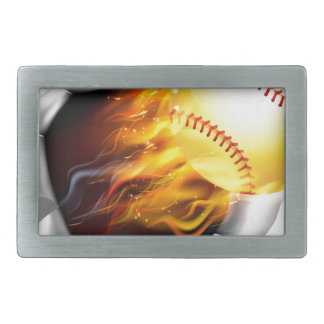 Flaming Softball Ball Tearing a Hole in the Backgr Rectangular Belt Buckles