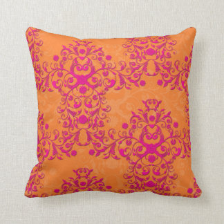 Flaming Tangerine Tango Orange and Pink Damask Throw Pillow