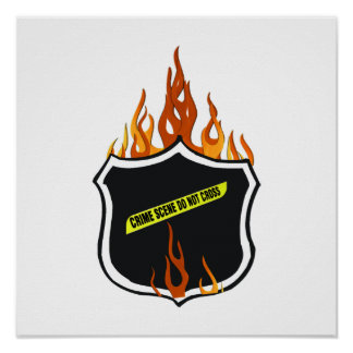 Flaming Tattoo Police Badge Poster