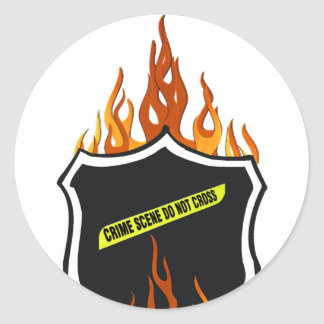 Flaming Tattoo Police Badge Round Sticker