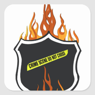 Flaming Tattoo Police Badge Square Sticker