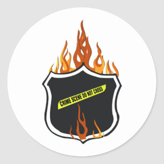 Flaming Tattoo Police Badge Stickers