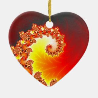 Flaming Tentacle - Fractal Art Ceramic Heart Ornament