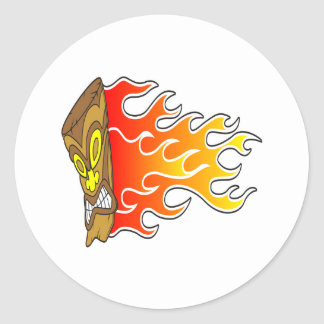 Flaming Tiki God Classic Round Sticker
