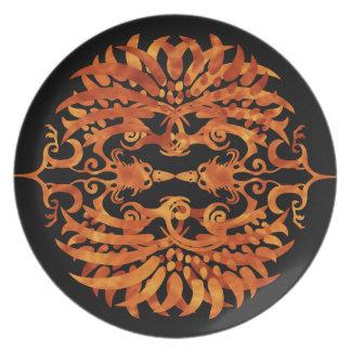 Flaming Tribal Phoenix Plate