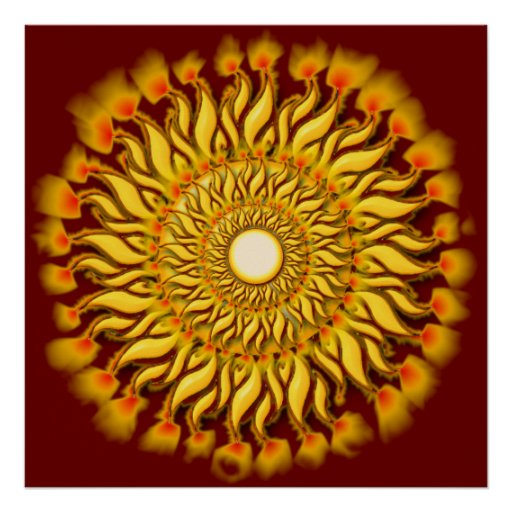 Flaming Tribal Sun Poster Print