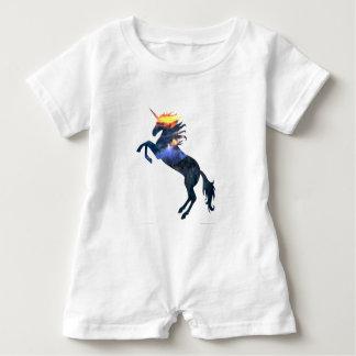 Flaming unicorn baby romper