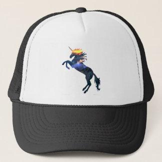 Flaming unicorn trucker hat