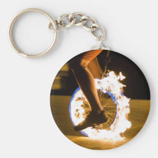 Flaming Unicycle Keychain