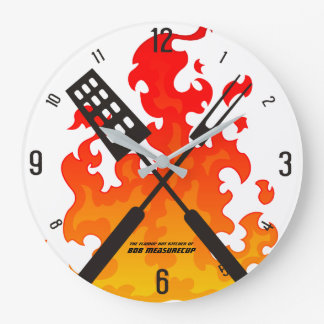 Flaming utensils bbq grilling kitchen clock