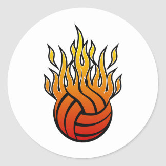Flaming Volleyball Classic Round Sticker