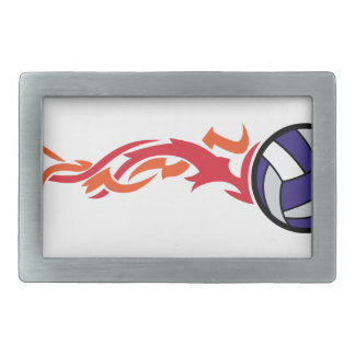 Flaming Volleyball Rectangular Belt Buckle