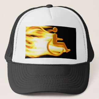 Flaming Wheel Chair Trucker Hat