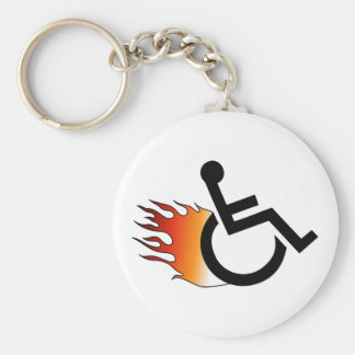 Flaming Wheelchair Keychain