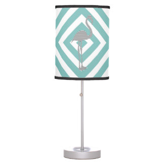 Flamingo - abstract geometric pattern - blue. table lamp