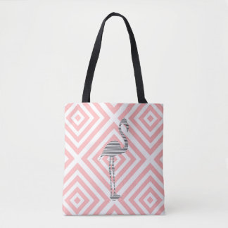 Flamingo - abstract geometric pattern - pink. tote bag
