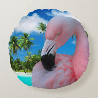 Flamingo and Beach Round Pillow