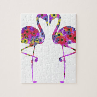 Flamingo and gerbera silhouette goods puzzles