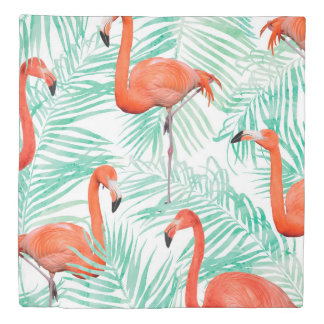 Flamingo and Mint Palm Duvet Cover