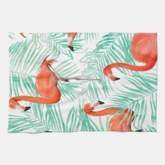 Flamingo and Mint Palm Kitchen Towel