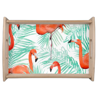 Flamingo and Mint Palm Serving Tray