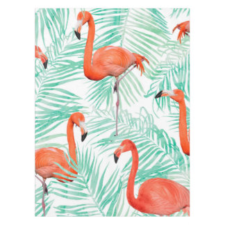 Flamingo and Mint Palm Tablecloth
