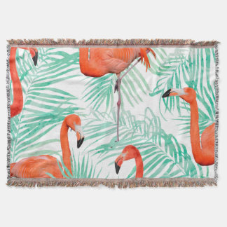 Flamingo and Mint Palm Throw Blanket