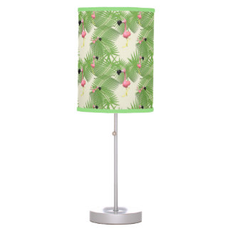 Flamingo and Palm Tree Leaves Table Lamp