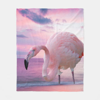 Flamingo and Pink Sky Fleece Blanket