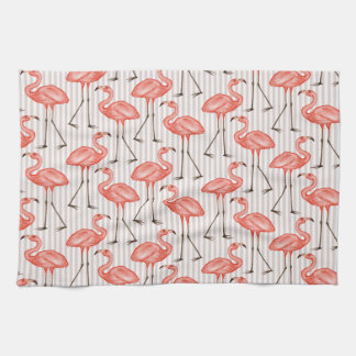 Flamingo and Stripe Pattern Kitchen Towel