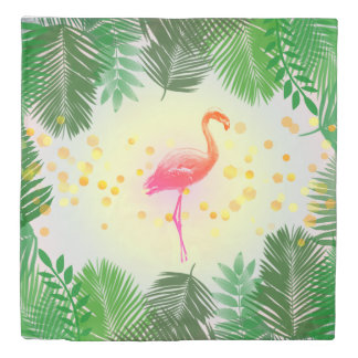 Flamingo and Tropical Leaves * Summer Time Madness Duvet Cover