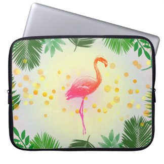 Flamingo and Tropical Leaves * Summer Time Madness Laptop Sleeve