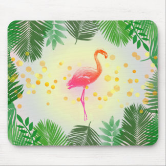 Flamingo and Tropical Leaves * Summer Time Madness Mouse Pad